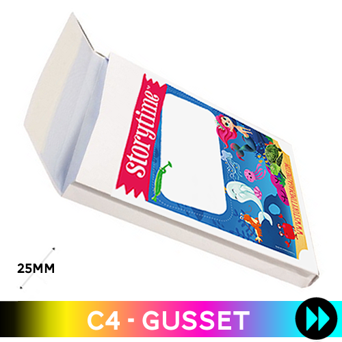Gusset 324 x 229 x 25mm C4 - Printed Full Colour