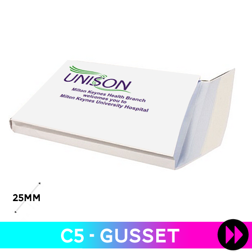 Gusset 162 x 229 x 25mm C5 - Printed 2 Colours