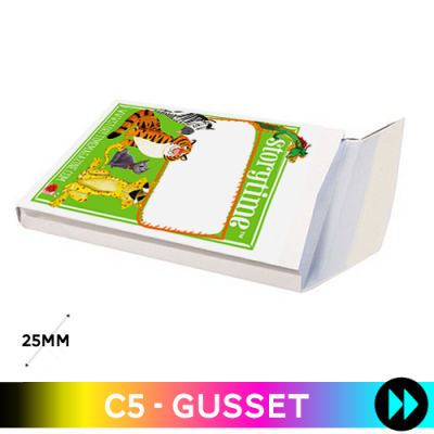 Gusset 162 x 229 x 25mm C5 - Printed Full Colour