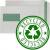 100% RECYCLED WINDOW - 90gsm Natural White Self Seal Pocket Green Inside +£0.05
