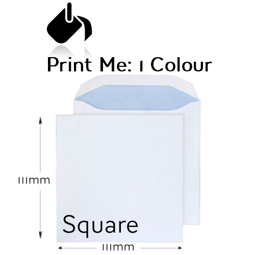 111 x 111mm Square - Printed 1 Colour Front And / Or Back