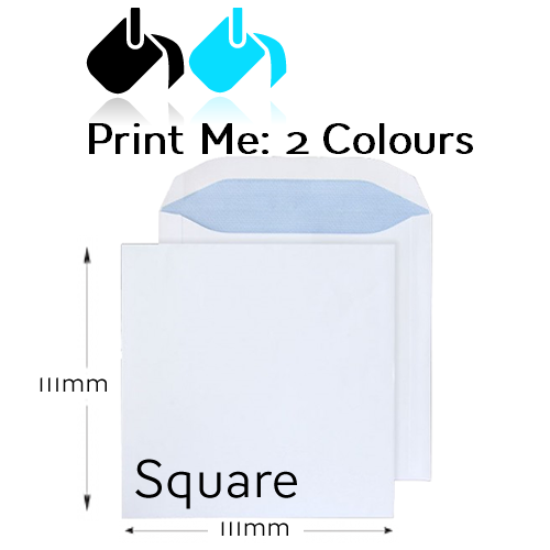 111 x 111mm Square - Printed 2 Colour Front And / Or Back
