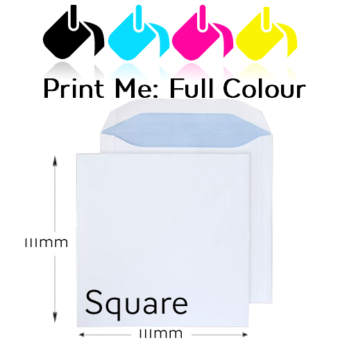 111 x 111mm Square - Printed Full Colour Front And / Or Back