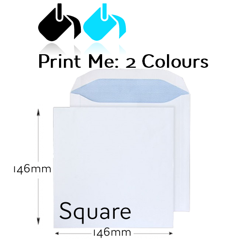 146 x 146mm Square - Printed 2 Colour Front And / Or Back